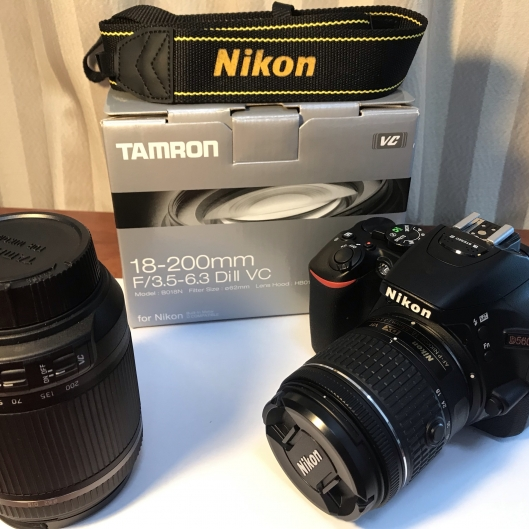 Nikon D5600 with 18-55mm kit lens + Tamron 18-200mm Dill VC lens